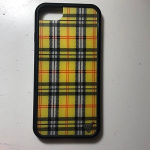 iphone 6/7/8 wildflower yellow plaid case